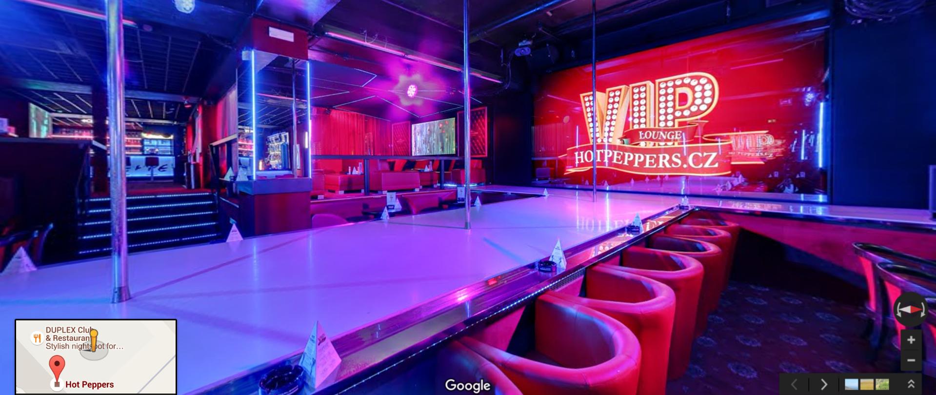 Google Street View virtuální prohlídka pro HOT PEPPER`S strip bar